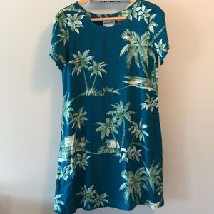 Bishop St  vintage teal Hawaiian print  dress